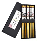 5 Paar Chopsticks Stäbchen asiatischen chinesischen bunten LianPu Gesichts Makeup Stäbchen Satz von chinesischen Stil Stäbchen Geschenk-Box (Lian Pu)