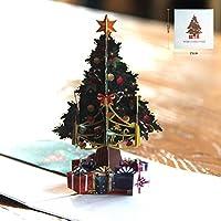 Lorenlli Tarjeta de árbol de Navidad Tallado en Hueco 3D Tarjetas Pop Up Árbol Hecho a