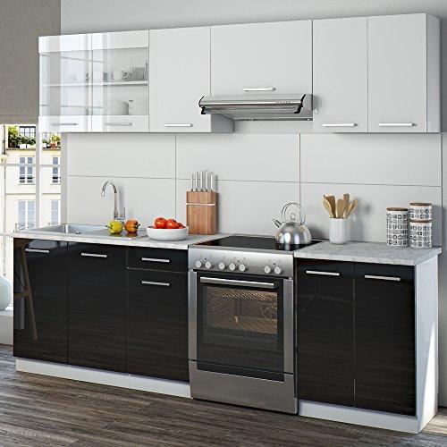 Küchenzeile 240 cm 7 schrank module frei kombinierbar küche küchenblock einbauküche hochglanz