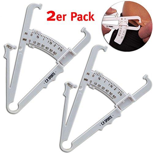 Körperfettmessgerät Fat Caliper Körperfett Tester, Körperfettzange Körperfettanteil messen mit Tabelle, BMI, Anleitung in deutsch (Doppelpack)