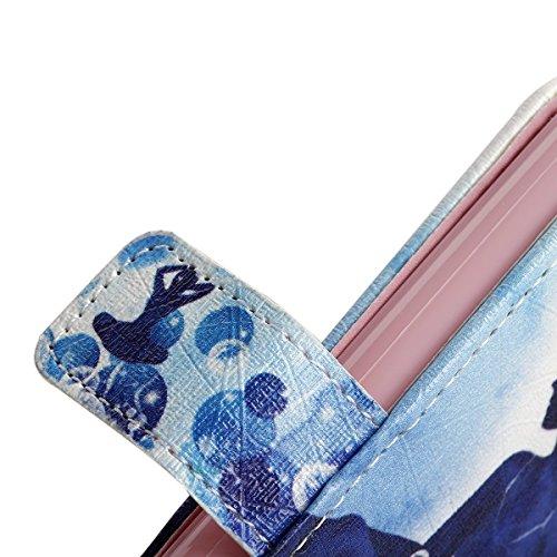 Etsue Diamant Leder Schutzhülle für iPhone 6S/iPhone 6 [Feuerwerk Himmel] Leder Tasche Case Muster, Bunte Elegant Shining Bling Strass Leder Flip Case Brieftasche mit Standfunktion Magnetverschluss Gl Mädchen Blume Fisch