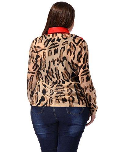 Nummer Damen Übergröße, Leopardenmuster, halbtransparent, Casual Hemd Beige