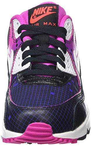Nike Air Max 90 Prem Mesh (Gs), Chaussures de Running Entrainement Fille Noir / blanc / vert / orange (noir / blanc - électrique - pourpre vif)