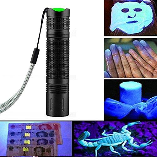 Ulanda UV Taschenlampe LED Handlampe Schwarzlicht aus Alulegierung, Detektor für falsche Papiergeld oder eingetrocknete Urin-Flecken der Haustiere auf Teppichen, Vorhänge, Gardinen, Wellenlänge 395nm -