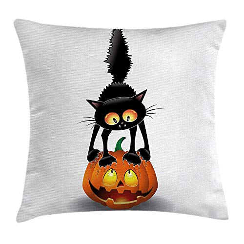 Halloween Decorations Throw Pillow Cushion Cover, Black Cat on Pumpkin Spooky Cartoon Characters Halloween Humor Art, Decorative Square Accent Pillow Case, 18 X 18 inches, Orange Black