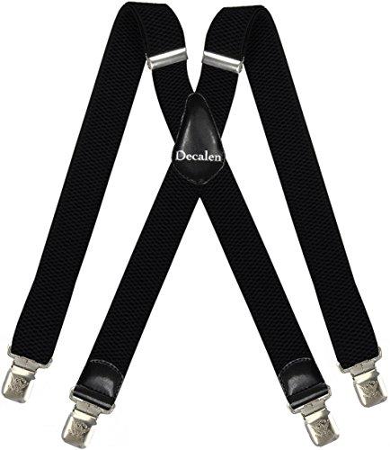 Decalen Hosenträger für Herren breit extra starken 4 cm mit 4er Clips X-Form lange für Männer und Damen Hose (Schwarz)