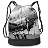 Printed Drawstring Backpacks Bags,Old Airliner Cockpit Antique Engine Propellers Wings and Nostalgia Image,Adjustable String Closure
