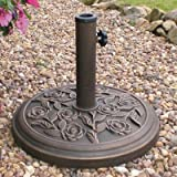 HEAVY DUTY METAL GARDEN PATTERNED PARASOL BASE PATIO