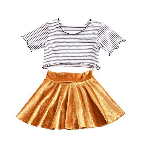Blaward Baby Mädchen Kinder Kurzarm Gestreiftes T-Shirt mit Samt Rock Set