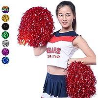 RETON 24 Piezas Pompones de Animadora, Pompón Metálicos de Cheerleading, Pompones de Animación para Niños para Deportes, Juegos, Fiestas, Celebraciones, Espectáculos (Rojo)