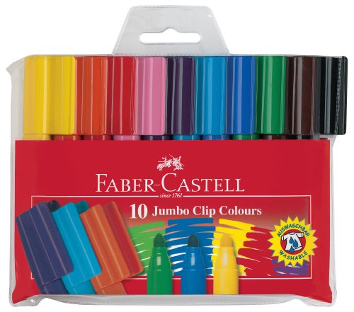 Faber-Castell 155210 - Fasermaler Jumbo Clip Colours, 10-er Etui