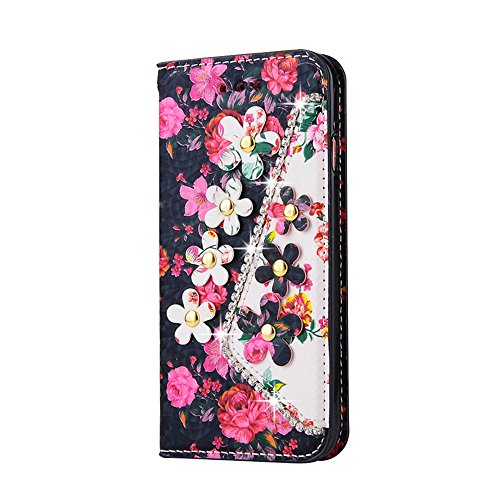 Vandot 3 in1 Sottile Classico Protector Custodia in Pelle per iphone 7 Plus Flip Case Luccichio Caso Shell Bling Book Magnete Snap-on Stile + Rhinestones Crown Corona Modello Anti-Dust Spina + Cavo Mi Design 8