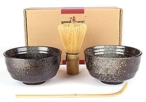 Goodwei Japonaise Ensemble de deux à Thé Matcha (Noir)