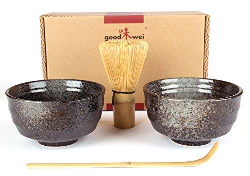 Goodwei Japanisches Matcha-Set Duo mit zwei Matcha-Schalen, aus Keramik