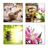 Feng Shui Bilder Set B schwebend, 4-teiliges Bilder-Set jedes Teil 29x29cm, Seidenmatte Optik auf Forex, moderne Optik, UV-stabil, wasserfest, Kunstdruck für Büro, Wohnzimmer, XXL Deko Bild