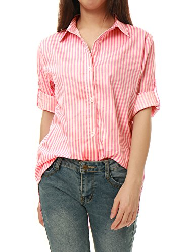 Allegra K Femme Rayures Verticales Boutonné Long Manches Roulées Chemise Rose
