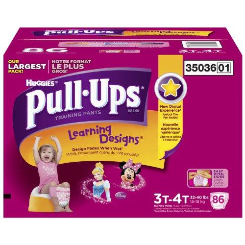 Huggies Pull-Ups Formazione Pantaloni per bambine, dimensioni 3t-4t (32-40kg.), 86ct.