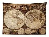 ABAKUHAUS Mappa del Mondo Tapetto da Parete e Copriletto, La Mappa Antica del Mondo Disegnato negli Anni 1720 Stile Nostalgico Arte, Colori Chiari, 150 x 110 cm, Multicolore