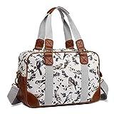 Miss LuLu Schulranzen Cross-Body Bag mit Blumen/Vögel-Drucken Große Handtasche Schule Umhängetasche Damen Mädchen (L1106-16J GY)