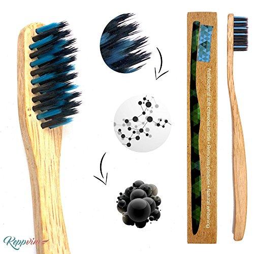 Bambus Zahnbürsten Biologisch Abbaubar Holzzahnbürste -1er Mittel bis Weich Bamboo Toothbrush
