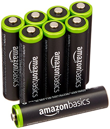 AmazonBasics - Pile Ricaricabili Mini Stilo AAA Ni-MH, precaricate, 1000 cicli (tipico 800 mAh/minimo 750 mAh), confezione da 8 pezzi. Involucro esterno variabile