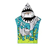 APERIL Kids Poncho Towel for Bath Beach Swimming Hooded Towel, Kids Soft Cartoon Bathrobe Fast Drying Towel