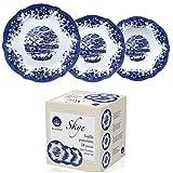 Geschirrset 18 tlg Tafel-Service für 6 Personen Porzellan Blaues Muster (Teller Set, 6 Essteller, 6 Desserteller, 6 Suppen Teller, Essgeschirr, Essservice, Blau Weiß)