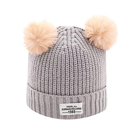 ung Schals Baby Kinder Ball Cap Brief Warme Winter Hüte Gestrickte Wolle Säumen (Grau) (Schwarzen Und Weißen Strand Bälle)