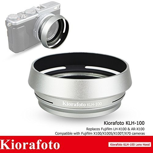 Kiorafoto Silver Lens Hood Shade with 49mm Filter Adapter Ring for Fujifilm X100F X100T X100S X100 X70 Replaces Fuji LH-X100 AR-X100