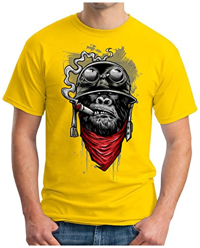 OM3 - GORILLA-OF-DUTY - T-Shirt Smoking Monkey Biker Ape MC Rocker Motor Army Navy War Swag , XL, Gelb (Gelbes T-shirt Fighter)