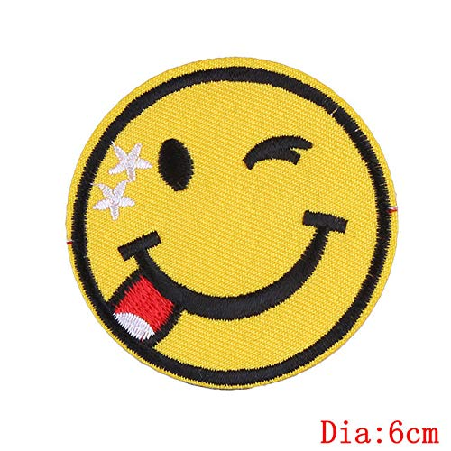 Shoppy Star Pulaqi Fashion Emoji Patches Cute Expression Smile Iron on Patch Hippie Sew Stickerei für Winter Kleidung Tasche DIY Zubehör H: Mehrfarbig