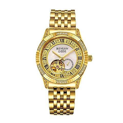 Binlun Gents Bling Yellow Gold Plating Japan Automatic Mechanic Wristwatch, Diameter 1.54''