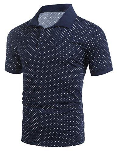 zeela Herren Poloshirt Kurzarm Punkte Drucken Größe S-XXXL Blau