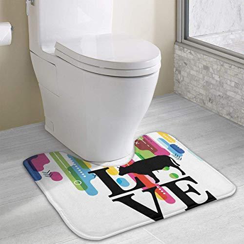 Hoklcvd Love Cows U-Shaped Toilet Floor Rug Non-Slip Toilet Carpets Bath Mats Rug (Gnome Dodger)