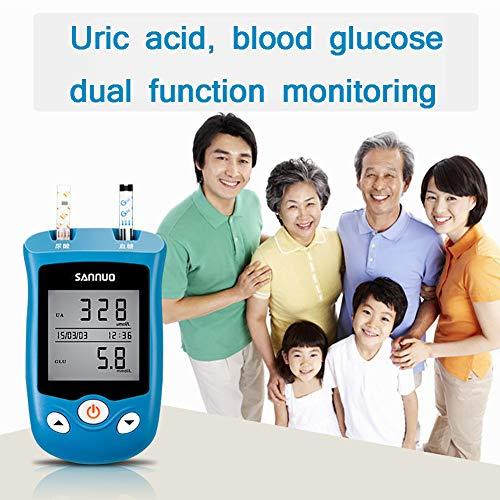 SUN RDPP Blutzuckermessgerät Zwei in einem 100 Teststreifen-Glukometer-Monitor-Harnsäuretester, Diabetes-Kontrolllösung