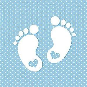 20 Servietten Kleine Fußabdrücke auf blau mit weißen Punkten zur Babyparty, Taufe oder Kindergeburtstag für Jungen 33x33cm