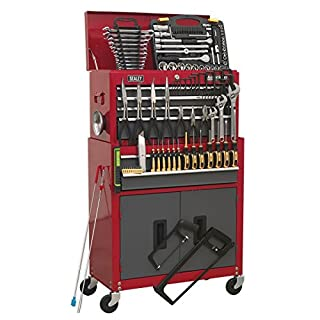 Sealey AP2200BBCOMBO Topchest & Rollcab Combination 6 Drawer with Ball Bearing Slides - Red/Grey & 128pc Tool Kit