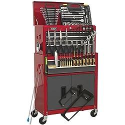 Sealey AP2200BBCOMBO Coffre à outils sur roulettes avec 6tiroirs et glissières à roulement à billes-Rouge/gris avec boîte à outils 128 pièces