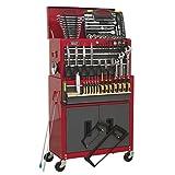Sealey Werkzeugkiste ap2200bbcombo & Werkzeugschrank Kombination 6Schublade mit Kugellager Folien-Rot/Grau & 128pc Tool Kit