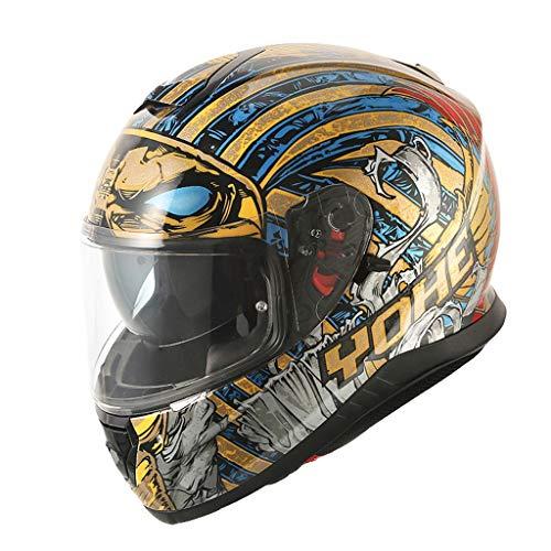 Motorradhelm Männer und Frauen Persönlichkeit Cool Full Helm Winter Semi-Full-Cover Racing Locomotive Helm (Farbe : Bunte, größe : XL)