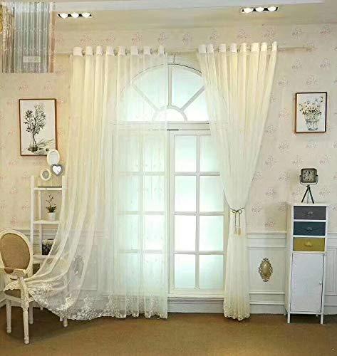 Vintage Weiße Tüll (Lactraum Vorhang Wohnzimmer mit Ösen Weiß Tranparent Voile Bestickt Pfau 145 x 245cm)