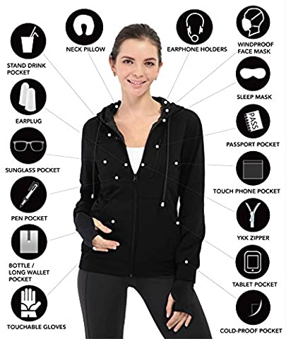 XY37 Women Travel Jacket Hoodie 10 Pockets Travel Pillow Eye Mask Face Mask Gloves (Large, Black)