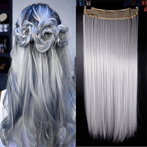 S-s-noilite 60cm clip-in capelli parte 3/4parrucca clip in extension capelli ricci ondulato un tresse capelli (argento grigio)