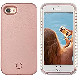 iPhone 8 LED Coque - Avkkey iPhone 8 Selfie Light iPhone Coque Idéal pour prises de Selfie et FaceTime lumineux Light Up Coque pour iPhone 7 4.7'' -Or rose