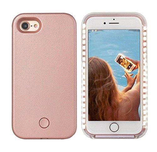 iPhone 8 LED Hülle - Avkkey iPhone 8 Selfie Licht iPhone Hülle ideal für einen hellen Selfie und Facetime Licht bis Schutzhülle für iPhone 7 4.7'' - Roségold -