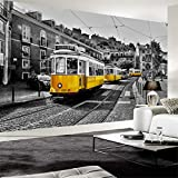 Hwhz Custom 3D Mural Retro European Street Yellow Streetcar Black and White City Building Wallpaper Cafe Restaurant 3D Decor-350X250Cm