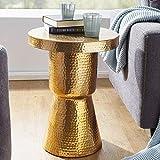 Wohnling Design Beistelltisch DELYLA 43x59x43 cm Aluminium Gold, Dekotisch orientalisch rund, Designer Ablagetisch Metall modern, Anstelltisch schmal, Kleiner Hammerschlag Abstelltisch, 48x48x65 cm