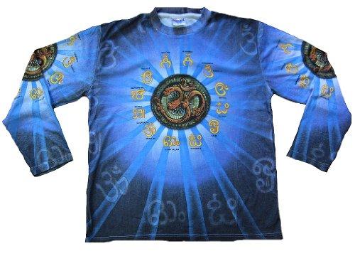 TICILA Herren T-Shirt Blau Langarm Om Aum Mantren Psychodelic Goa Trance Dj Beach Party Kunst Art All Over Print Designer Vintage Tattoo Design M 50 -