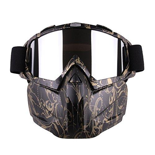 Occhiali da moto maschera staccabile, Harley Style proteggere imbottitura casco da sole, strada equitazione UV moto occhiali, unisex donna (Oro nero)