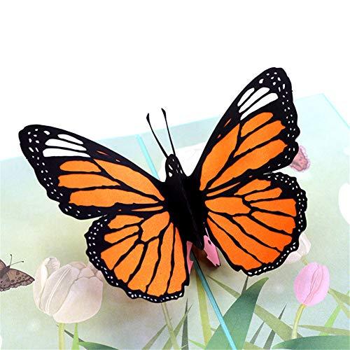 X-Labor 3D Schmetterling Pop up Karte mit Umschlägen Grußkarte Klappkarte für Geburtstag Weihnachten Valentinstag Glückwunschkarten Frühjahrskarte
